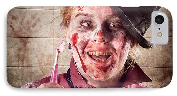 Zombie At Dentist Holding Toothbrush. Tooth Decay Phone Case by Jorgo Photography - Wall Art Gallery
