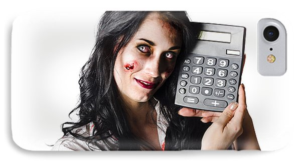 Zombie Finance Worker With Calculator IPhone Case by Jorgo Photography - Wall Art Gallery