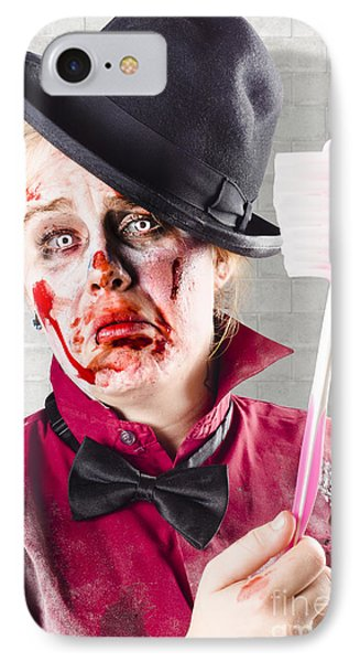 Zombie With Big Toothbrush. Fear Of The Dentist IPhone Case by Jorgo Photography - Wall Art Gallery