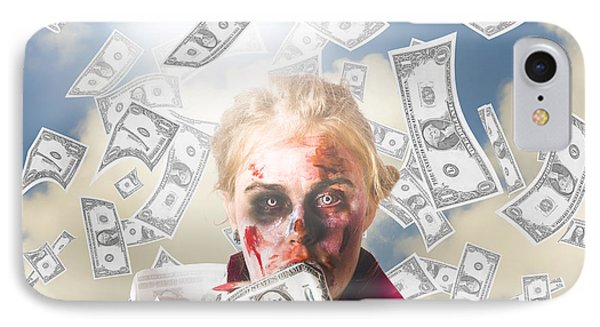Zombie With Crazy Money. Filthy Rich Millionaire IPhone Case by Jorgo Photography - Wall Art Gallery
