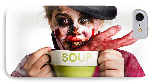 Zombie Woman Eating Hand Soup IPhone Case by Jorgo Photography - Wall Art Gallery