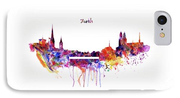 Zurich Skyline IPhone Case by Marian Voicu