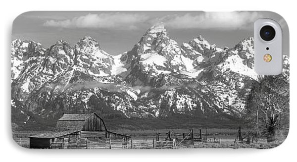 Mormon Row Moulton Barn Black And White Panorama IPhone Case by Adam Jewell