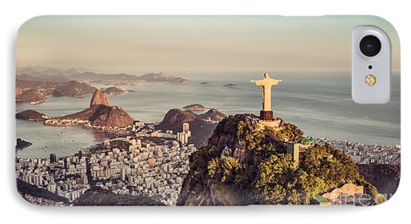 South America iPhone 7 Case - Aerial Panorama Of Botafogo Bay And by Marchello74