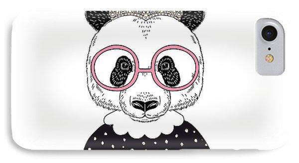T Shirts iPhone 7 Case - Cute Portrait Of Panda Princess, Hand by Olga angelloz