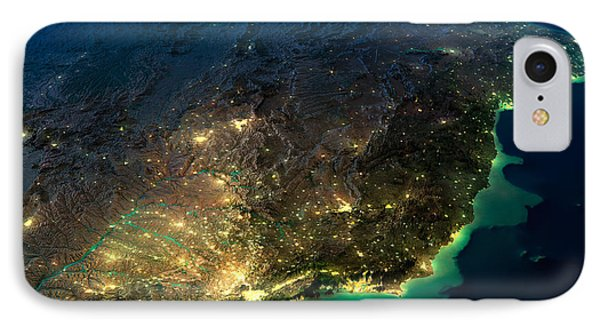 South America iPhone 7 Case - Highly Detailed Earth, Illuminated By by Anton Balazh