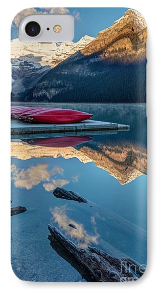Rocky Mountain iPhone 7 Case - Lake Louise Canoes In Banff National by Pierre Leclerc