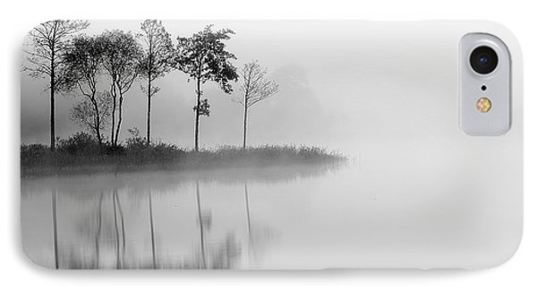The iPhone 7 Case - Loch Ard Trees In The Mist Reflecting by Targn Pleiades