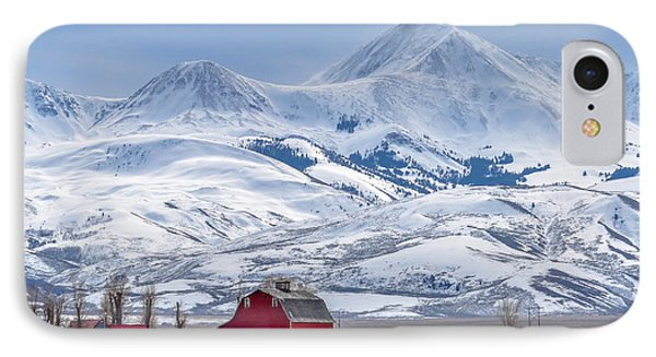 Rocky Mountain iPhone 7 Case - Montana Farm Dwarfed By Tall Mountains by Mh Anderson Photography