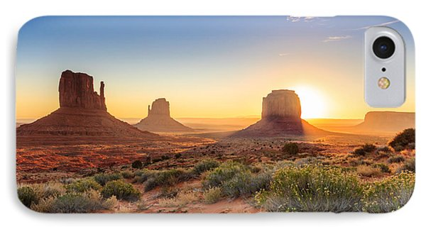 Dawn iPhone 7 Case - Monument Valley Twilight, Az, Usa by F11photo