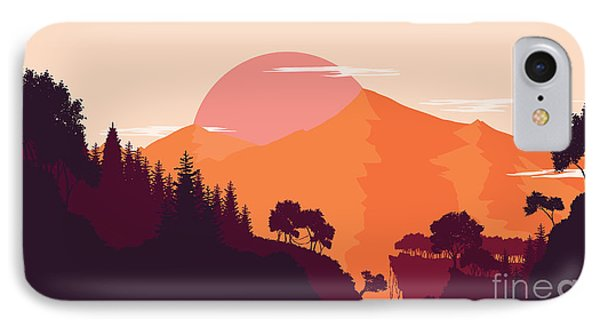 Rocky Mountain iPhone 7 Case - Mountain And Forest Landscape In Day by Miomart