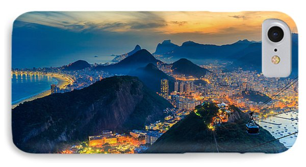 South America iPhone 7 Case - Night View Of Copacabana Beach, Urca by F11photo