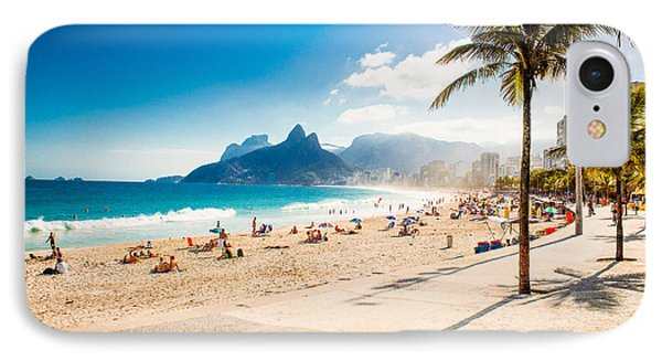 South America iPhone 7 Case - Palms And Two Brothers Mountain On by Aleksandar Todorovic