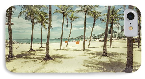 South America iPhone 7 Case - Palms With Shadows On Copacabana Beach by Marchello74