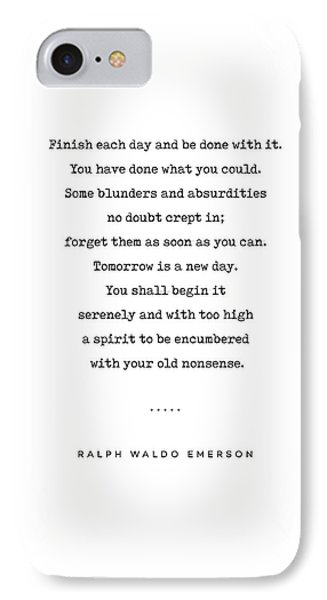 Simple iPhone 7 Case - Ralph Waldo Emerson Quote 01 - Minimal, Sophisticated, Modern, Classy Typewriter Print - Motivation by Studio Grafiikka