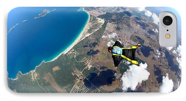 South America iPhone 7 Case - Skydive Wing Suit Over Brazilian Beach by Rick Neves