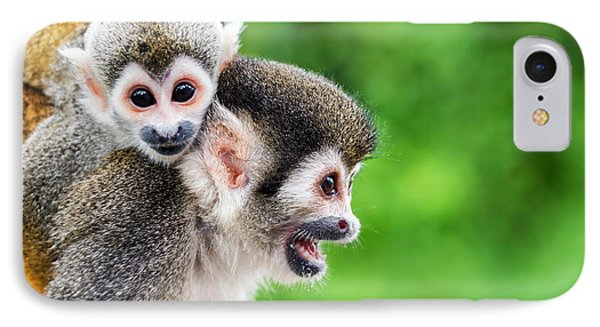 South America iPhone 7 Case - Two Squirrel Monkeys, A Mother And Her by Jess Kraft