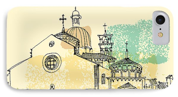 Cross iPhone 7 Case - Vector Illustration Of Padua Cathedral by Babayuka