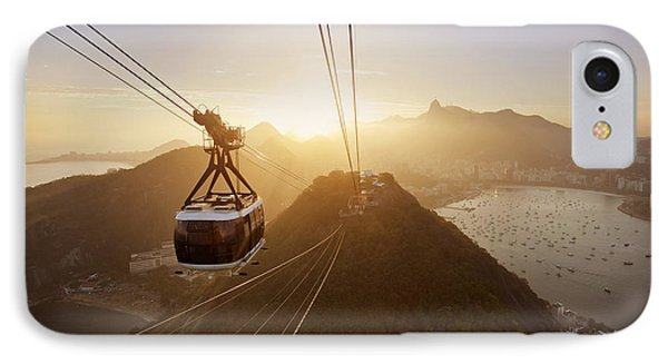 South America iPhone 7 Case - View Of A Cable Car At Sunset, Showing by Claire Mcadams