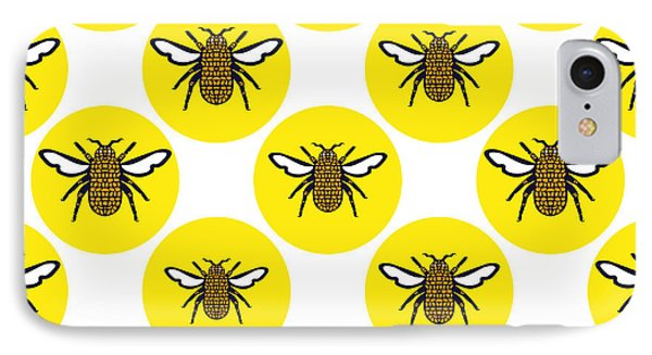 Honeybee iPhone 7 Case - Yellow Print Design Background Of by Bhakti Manjari