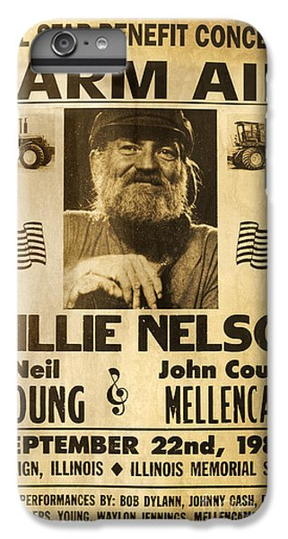 Vintage Willie Nelson 1985 Farm Aid Poster IPhone 7 Plus Case by John Stephens