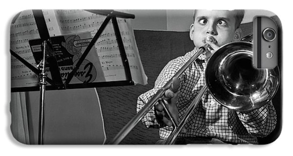 Trombone iPhone 7 Plus Case - 1950s Funny Cross-eyed Boy Playing by Vintage Images