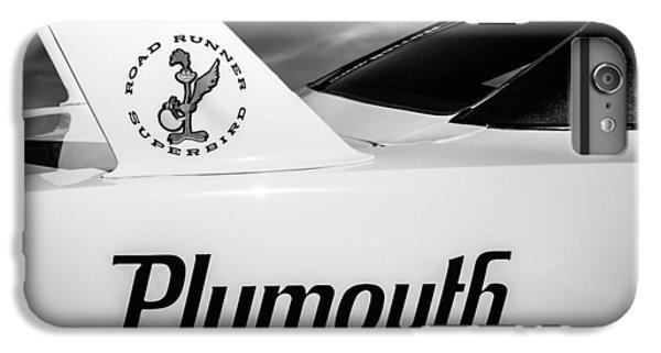 Roadrunner iPhone 7 Plus Case - 1970 Plymouth Superbird Emblem -0520bw by Jill Reger