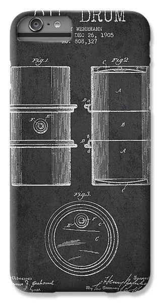 Drum iPhone 7 Plus Case - Oil Drum Patent Drawing From 1905 by Aged Pixel