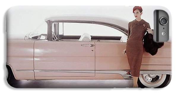 A Model Posing In Front Of A Vintage Car IPhone 7 Plus Case by Karen Radkai