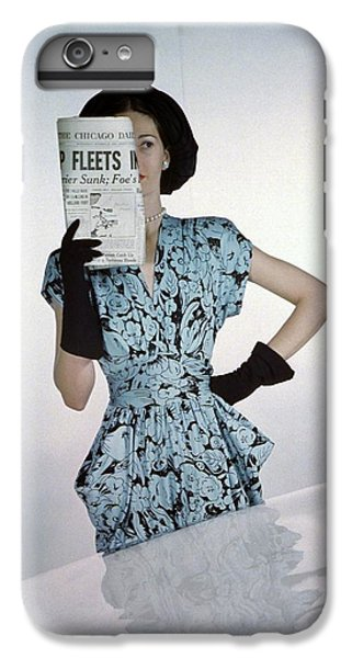 A Model Wearing A Floral Blue Dress IPhone 7 Plus Case by Constantin Joff?
