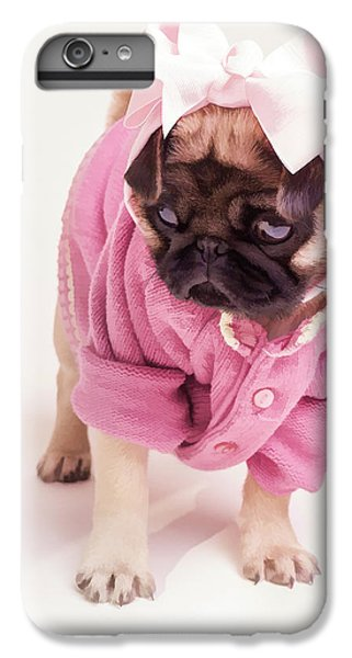 Pug iPhone 7 Plus Case - Adorable Pug Puppy In Pink Bow And Sweater by Edward Fielding