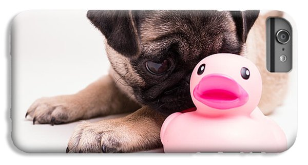 Pug iPhone 7 Plus Case - Adorable Pug Puppy With Pink Rubber Ducky by Edward Fielding