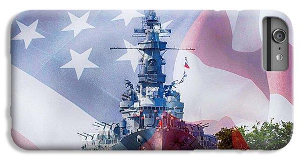 Shrimp Boats iPhone 7 Plus Case - Battleship Alabama And Flag by Michael Thomas