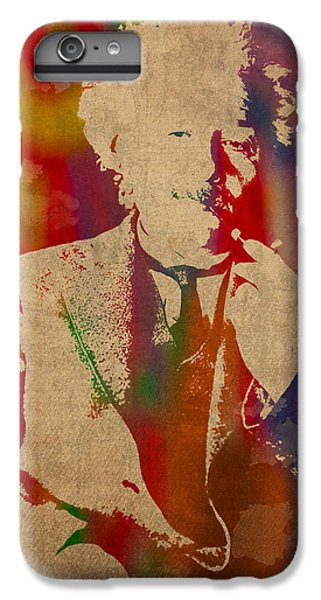 Portraits iPhone 7 Plus Case - Albert Einstein Watercolor Portrait On Worn Parchment by Design Turnpike