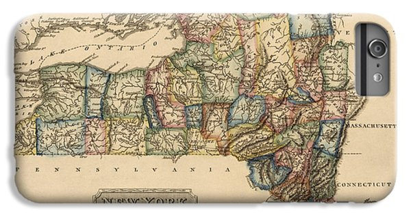 New York City iPhone 7 Plus Case - Antique Map Of New York State By Fielding Lucas - Circa 1817 by Blue Monocle