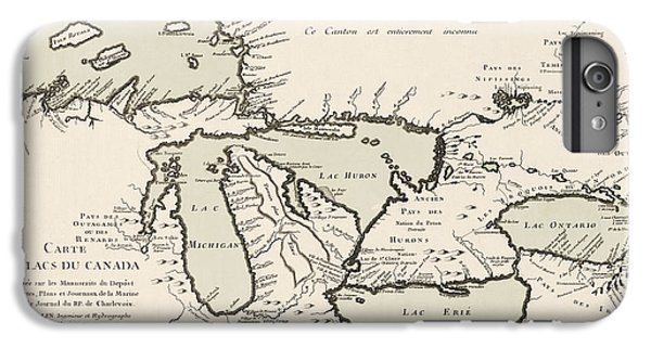 Lake Superior iPhone 7 Plus Case - Antique Map Of The Great Lakes By Jacques Nicolas Bellin - 1742 by Blue Monocle