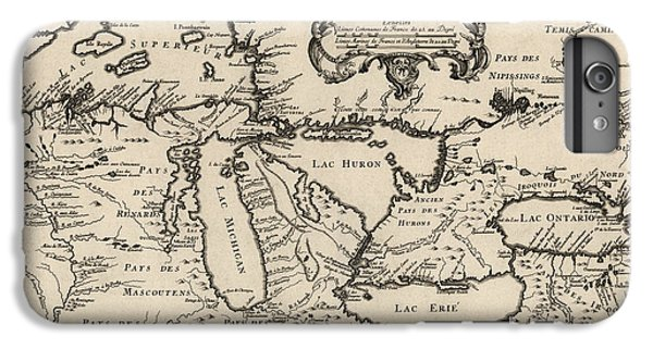 Lake Superior iPhone 7 Plus Case - Antique Map Of The Great Lakes By Jacques Nicolas Bellin - 1755 by Blue Monocle