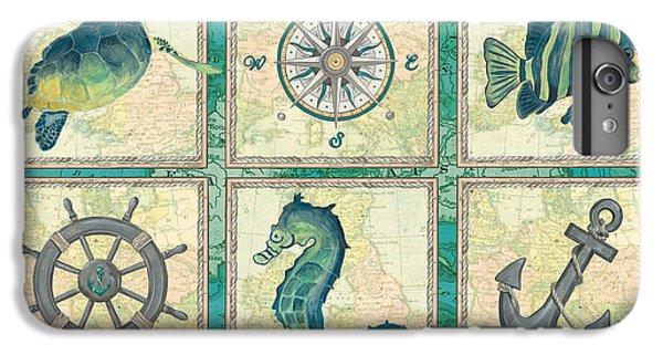 Seahorse iPhone 7 Plus Case - Aqua Maritime Patch by Debbie DeWitt