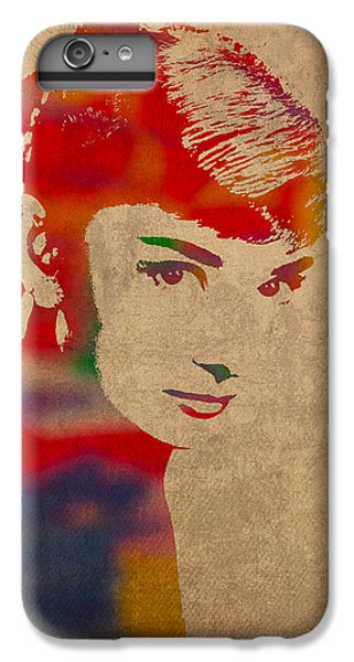 Portraits iPhone 7 Plus Case - Audrey Hepburn Watercolor Portrait On Worn Distressed Canvas by Design Turnpike