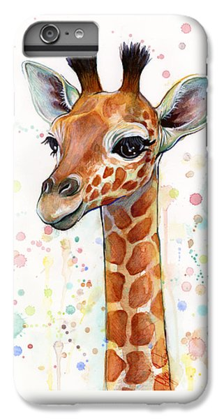 Baby Giraffe Watercolor  IPhone 7 Plus Case by Olga Shvartsur