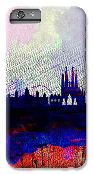 Barcelona iPhone 7 Plus Case - Barcelona Watercolor Skyline 2 by Naxart Studio