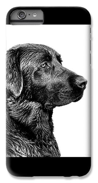 Dog iPhone 7 Plus Case - Black Labrador Retriever Dog Monochrome by Jennie Marie Schell