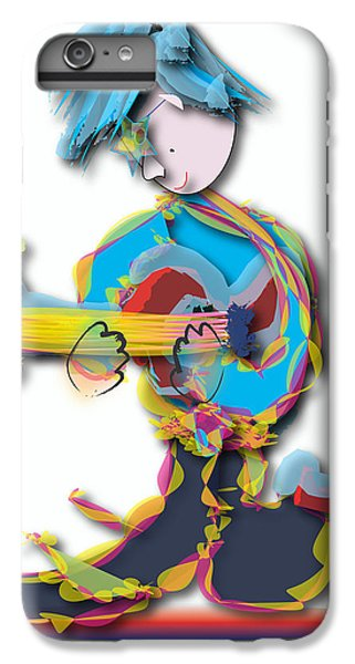 IPhone 7 Plus Case featuring the digital art Blue Hair Guitar Player by Marvin Blaine