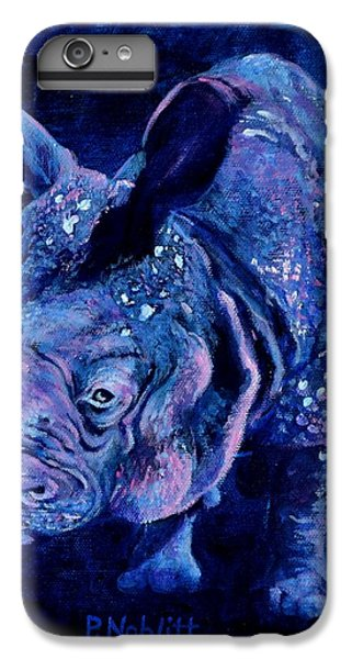 Indian Rhino - Blue IPhone 7 Plus Case by Paula Noblitt