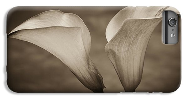 IPhone 7 Plus Case featuring the photograph Calla Lilies In Sepia by Sebastian Musial