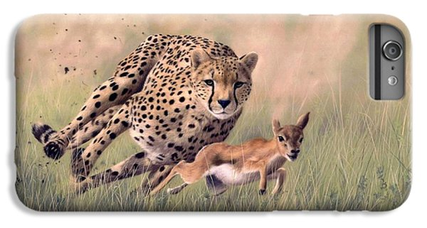 Cheetah iPhone 7 Plus Case - Cheetah And Gazelle Painting by Rachel Stribbling