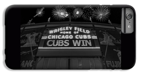 Chicago Cubs iPhone 7 Plus Case - Chicago Cubs Win Fireworks Night B W by Steve Gadomski