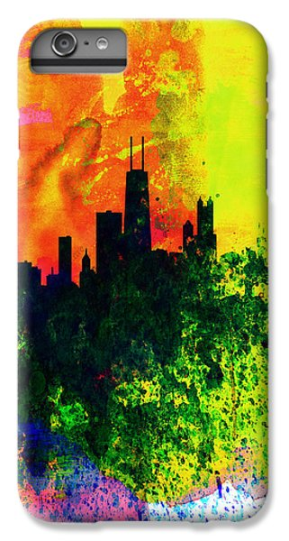 University Of Illinois iPhone 7 Plus Case - Chicago Watercolor Skyline by Naxart Studio