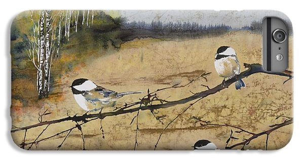 Chickadee iPhone 7 Plus Case - Chickadees And A Row Of Birch Trees by Carolyn Doe