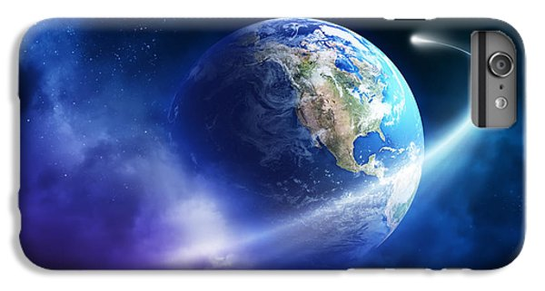 Planets iPhone 7 Plus Case - Comet Moving Passing Planet Earth by Johan Swanepoel